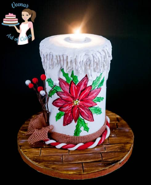 Hand Painted Poinsettia On A Christmas Candle Cake Veena