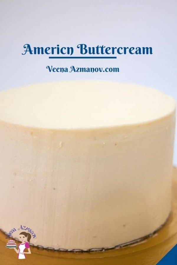Pinterest image for American Buttercream Frosting.
