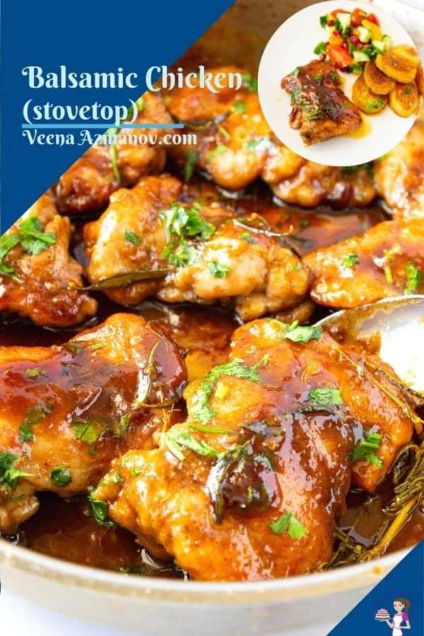 Pinterest image for balsamic chicken.