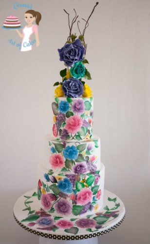 Hand Painted Roses Wedding Cake-5