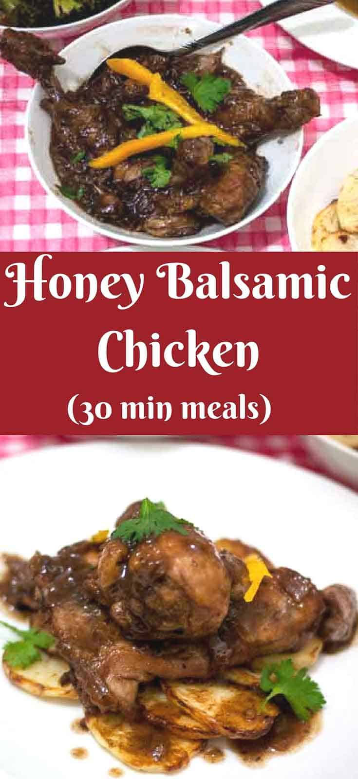 This Honey Balsamic Chicken is a delicious, simple, easy and effortless recipe to make with most ingredients you probably already have at home. The combination of honey and balsamic cooked into a sweet smooth sauce and tender chicken makes an absolute treat in just 30 mins.