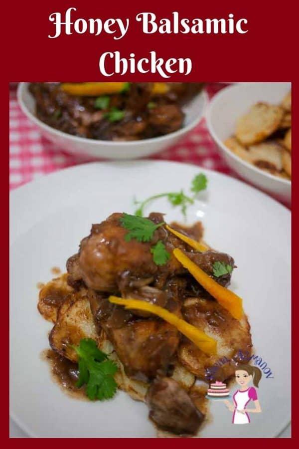 Honey balsamic chicken in a plate.
