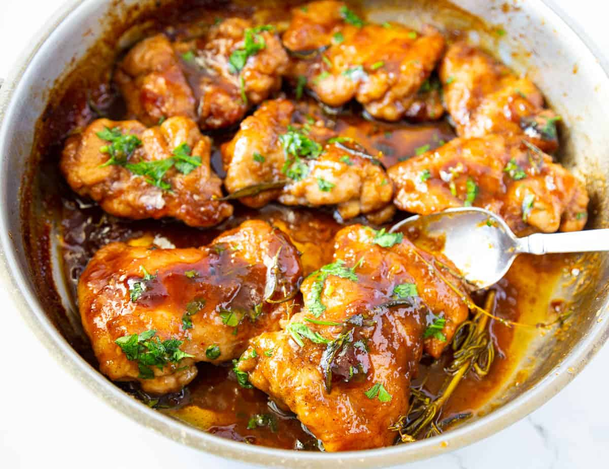 Balsamic cooked chicken in a saute pan