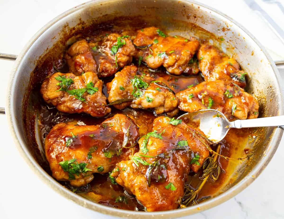 Chicken cooked with balsamic in a saute pan