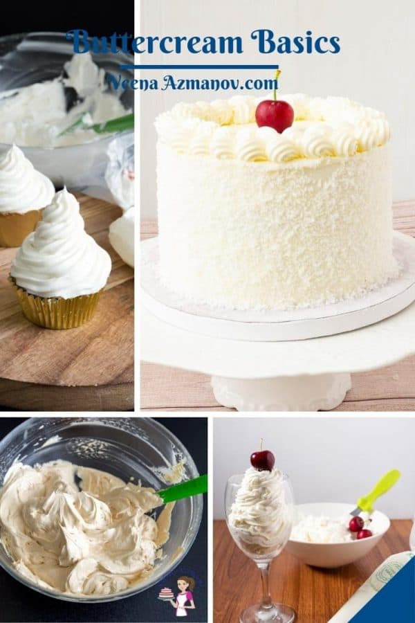 Pinterest image for types of buttercreams.