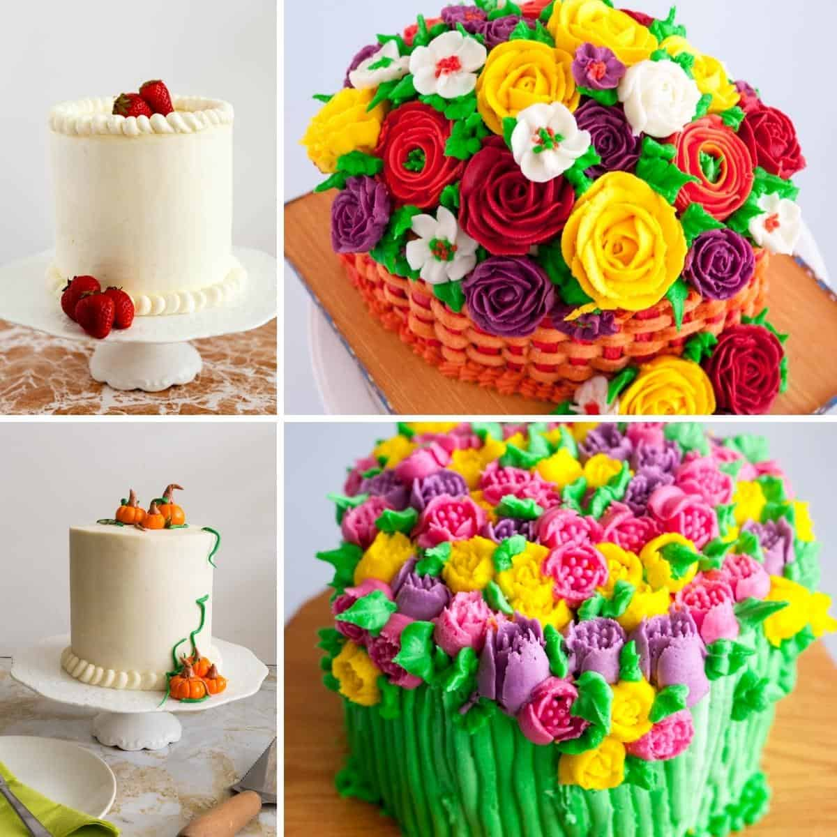 Buttercream frosted cakes collage.