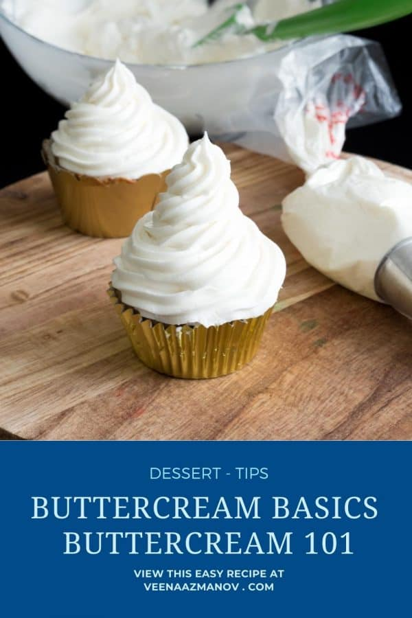 Pinterest image for Buttercream guide and troubleshooting.