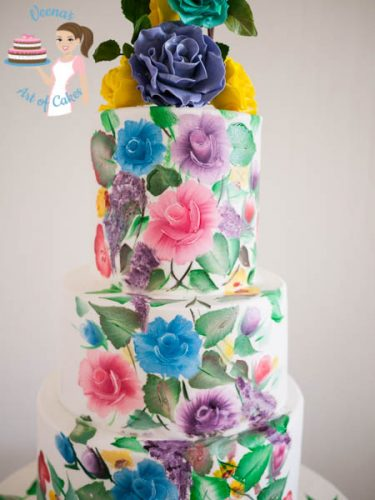 Hand Painted Roses Wedding Cake-7