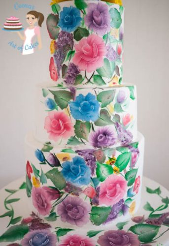 Hand Painted Roses Wedding Cake-8