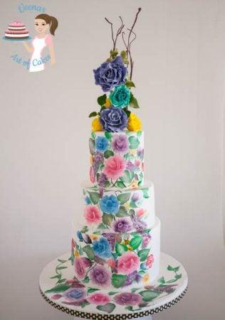 Hand Painted Roses Wedding Cake