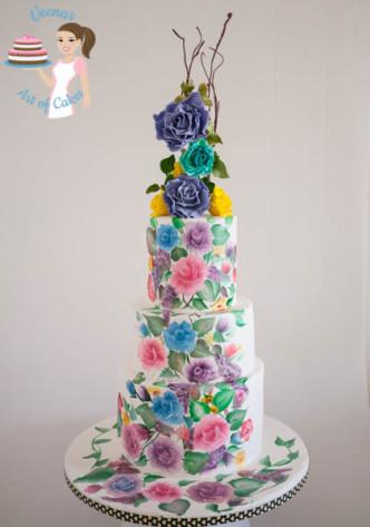 Hand Painted Roses Wedding Cake-9