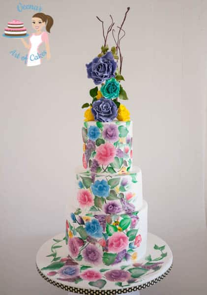 Hand Painted Roses Wedding Cake