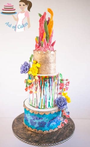 Color Splash Cake with sugar roses and blooms