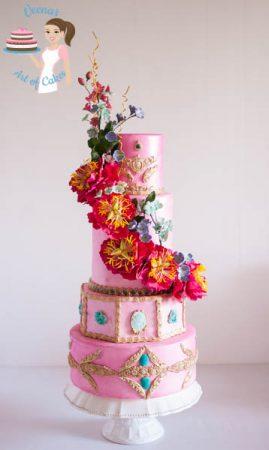 Pretty in Pink Peony Wedding Cake