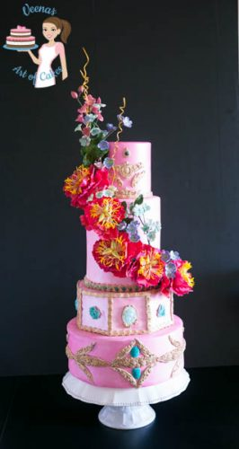Pretty in Pink Wedding Cake with gorgeous sugar peonies and filler flowers made for Cake Craft and Decoration Magazine.