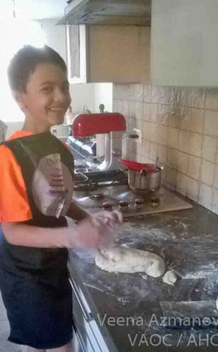 Aadi making chapati