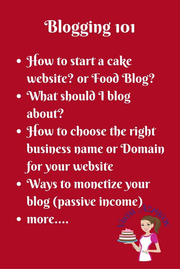 A Blogging resources that might be helpful when you just start blogging. How to start a cake website? What should I blog about? Choosing a blog name or business name. How to monetize my blog