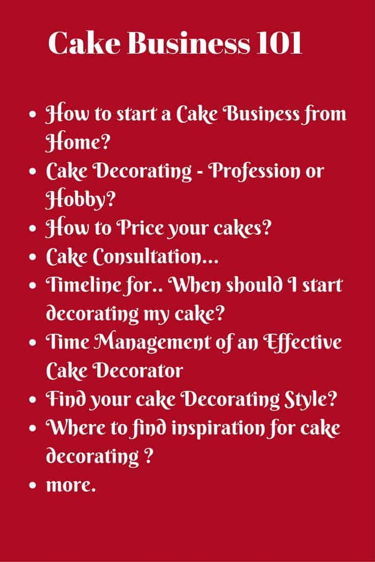 A list of cake business post that may be of interest when starting a cake business from home. Should I do cake decorating as a profession or hobby? How should I price my cakes? Timeline for decorating your cakes? Find your cake decorating style, Under pricing your cakes?