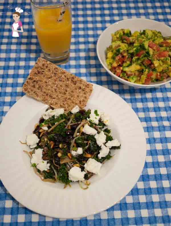 Simply healthy Kale with Pine nuts, Cranberries and Feta Cheese is delicious and yet healthy recipe that is perfect for brunch lunch or dinner by food blog A Homemade Chef