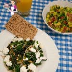 Simply Healthy Kale with Pine Nuts, Cranberries and Feta Cheese