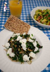 Kale with Pine nuts, Cranberries and Feta Cheese is delicious and yet healthy recipe that is perfect for brunch lunch or dinner by food blog A Homemade Chef