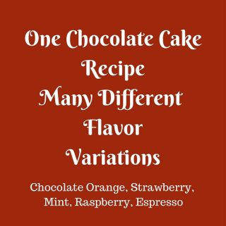 One Chocolate Cake Recipe many different flavors is an absolute winning recipe. Just one recipe & you can create six different flavors with simple addition or subtraction. It's a great place to start when you think baking a cake from scratch is overwhelming.
