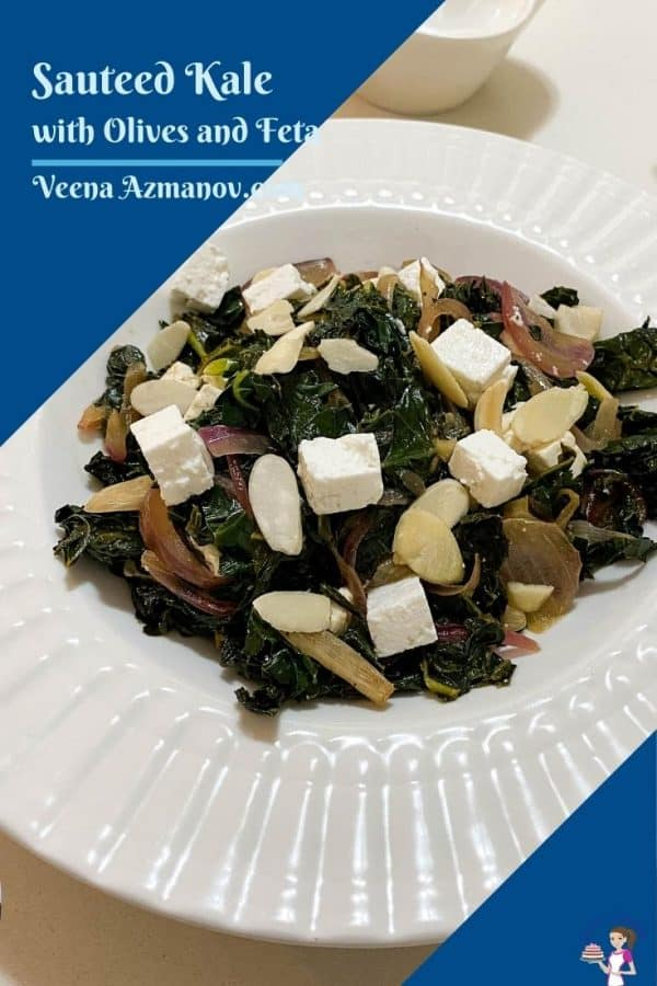 Pinterest image with kale, feta and olives