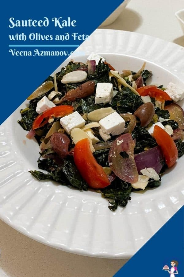 A pinterest image for sauteed kale