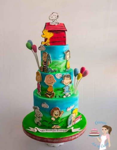 Charlie and the Peanut Friends is such a fun and vibrant cake with lovely summery colors, so beautifully done by Veena Azmanov of Veenas Art of Cakes