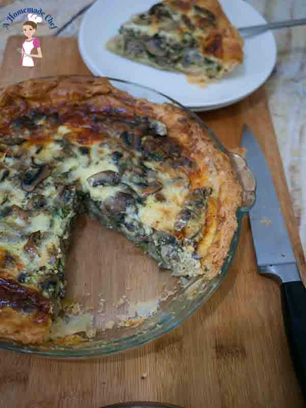 Cheesy Mushroom Quiche is better than just normal Quiche, such a simple and food proof recipe that allows you to use store bought pie crust from food blog A Homemade Chef