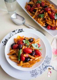 Cherry Tomatoes Olives and Basil Pasta is such a fresh take on summery pasta with it's vibrant colors and fresh ingredients by food blog a homemade Chef dot net
