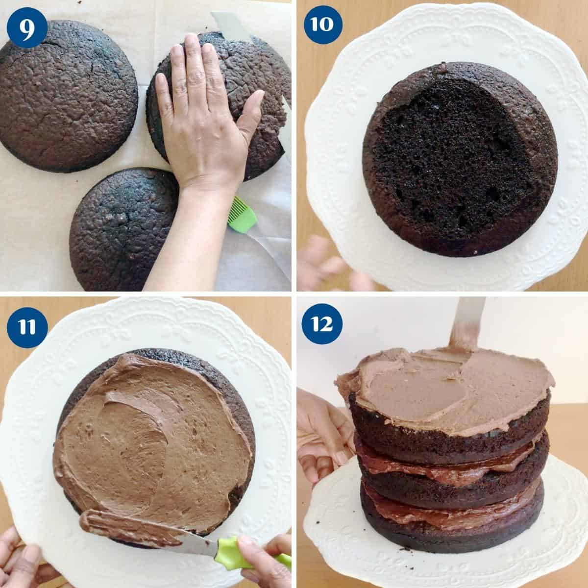 Progress pictures collage for 8 inch chocolate cake recipe.