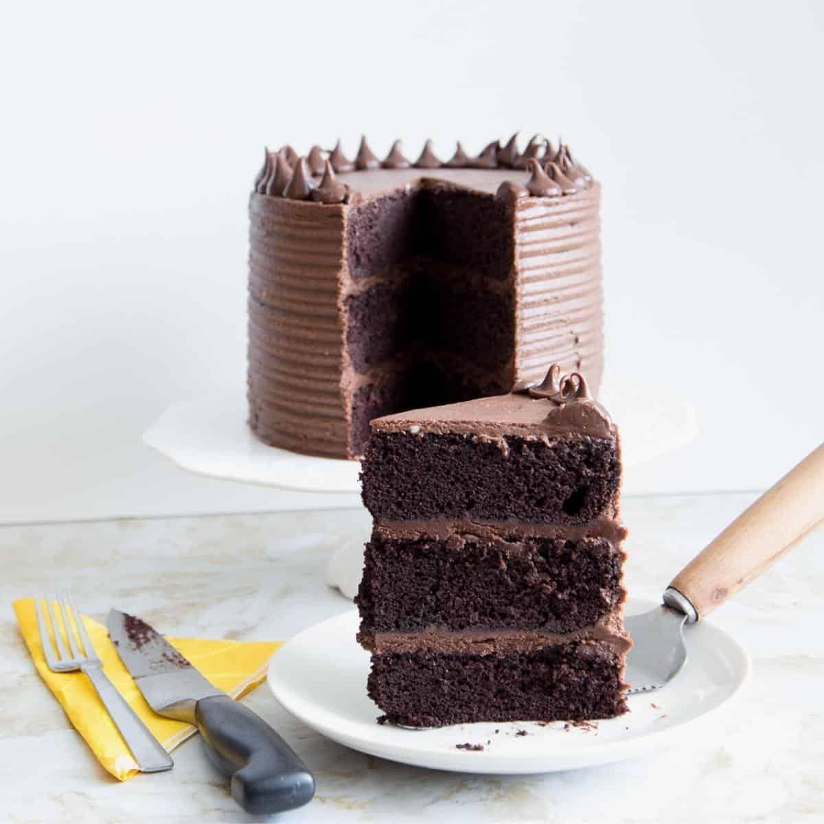 A cut slice of chocolate cake