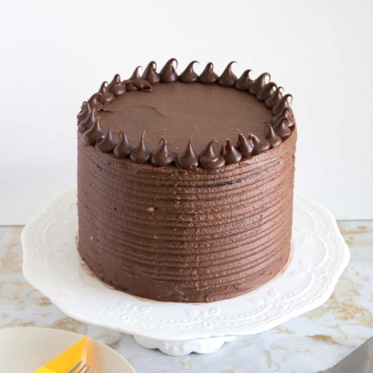 Top view of the chocolate cake