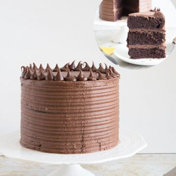 A cake on a cake board