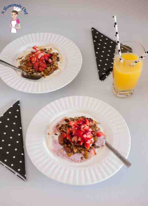 Homemade Granola is a perfect breakfast recipe to start any day. Love this recipe filled with fruits and nuts as well as Cranberry Juice for extra flavor by food blog A Homemade Chef dot net
