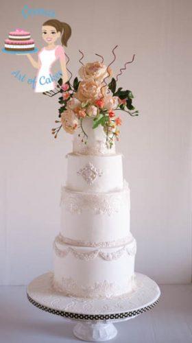 Peony Lace White Wedding Cake - gorgeous white wedding cake by Cake Artist Veena Azmanov of Veena's Art of Cakes