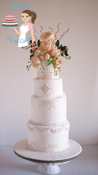 Peony Lace White Wedding Cake