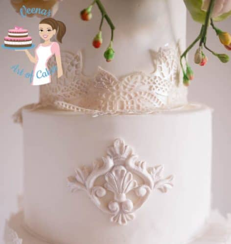 Peony Lace White Wedding Cake - gorgeous white wedding cake by Cake Artist Veena Azmanov of Veena's Art of Cakes