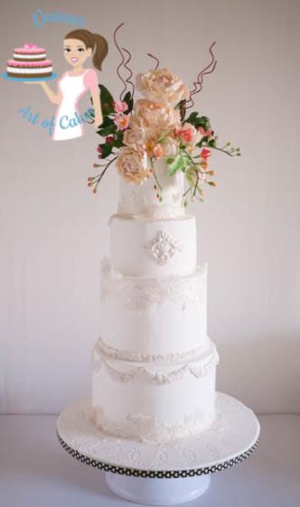 Peony Lace White Wedding Cake