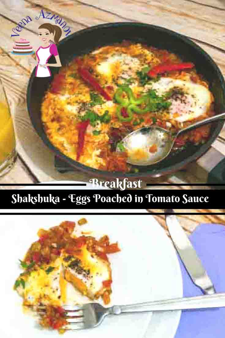A Pinterest optimized image for this Israeli breakfast recipe called shakshuka which is a simple easy eggs poached into a tomato sauce.