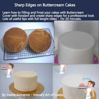 How to achieve sharp edges on buttercream cakes is an excellent video tutorial over an hour that shares in detail the process right after you bake to covering in fondant. Excellent must have video!
