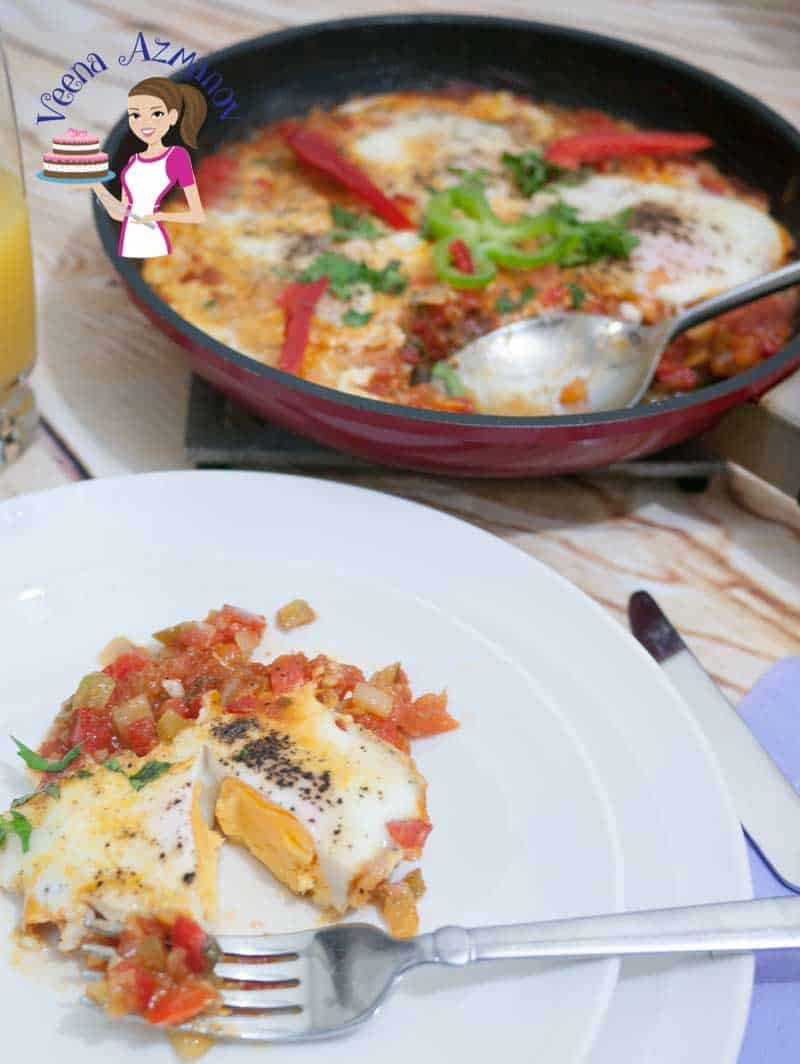 Image showing a fry pan with a Classic Shakshuka in the background and a plate of shakshuka served with the egg cut
