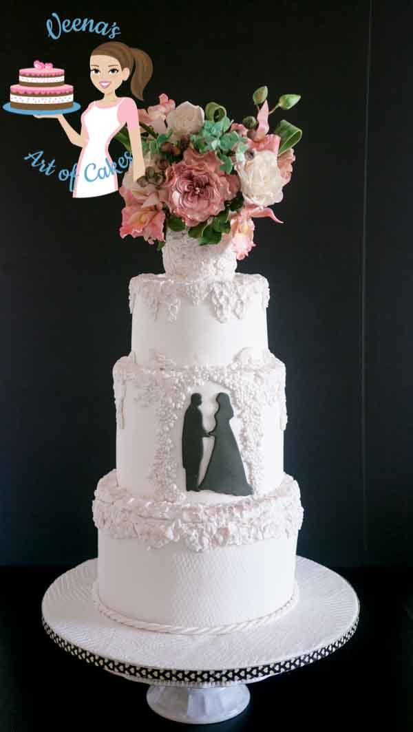 A bas relief wedding cake.