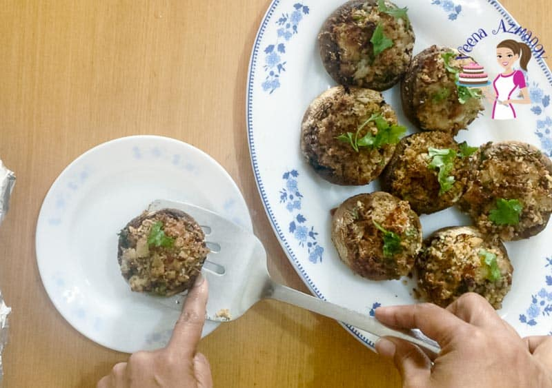 Serving the stuffed mushrooms on a platter - progress pictures