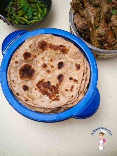 Indian Chapati or Whole Wheat Tortilla is an Indian Bread recipe made with whole wheat flour. It's not just healthier but delicious and easy to make too by food blog A Homemade Chef