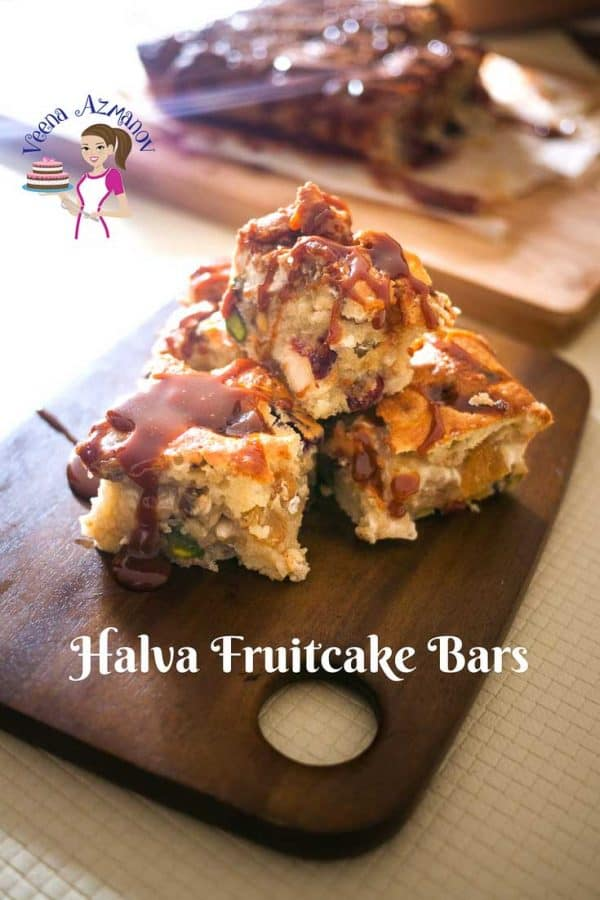 An image optimized for social media share for these Halva fruitcake bars aka caramel Halva Squares a middle eastern coffee cake with halva.