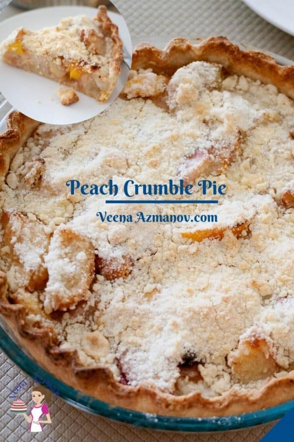 Pinterest image for peach crumble pie.