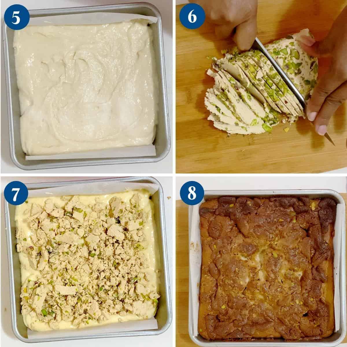 Progress pictures collage adding halva the cake.