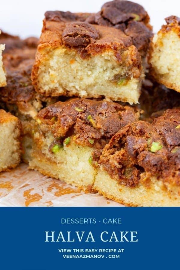 Pinterest image for halva cake.